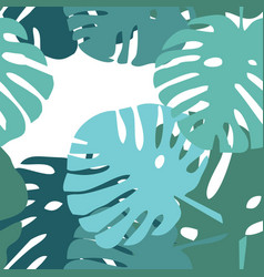 tile tropical pattern with green exotic leaves vector image