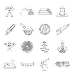 Timber industry icons set outline style vector