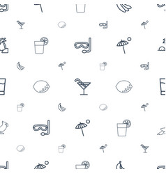 Tropical icons pattern seamless white background vector