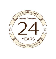 twenty four years anniversary celebration logo vector image