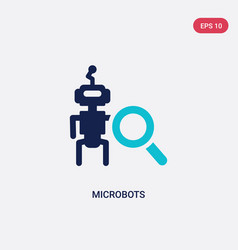 Two color microbots icon from artificial vector