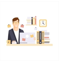 Unhappy Man Office Worker In Office Cubicle Having vector