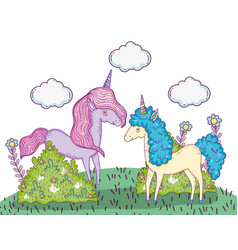 unicorns animals with clouds and bushes plants vector image