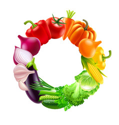 Vegetables in circle rainbow colors background vector