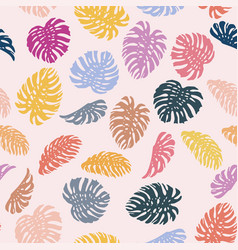 vivid color monstera seamless pattern pink vector image