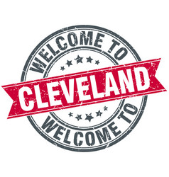 Welcome to cleveland red round vintage stamp vector