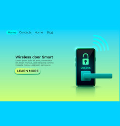 wireless door smart protection device application vector image