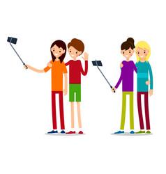 woman selfie woman selfie in cartoon style vector image