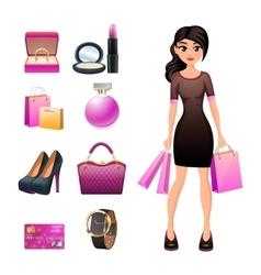 women shopping decorative set vector image
