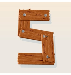wooden letter s vector image