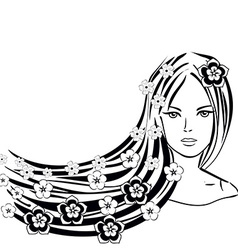 Abstract Girl with Flowers in the Hair Sum vector image