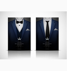 blue suit and tuxedo with bow tie vector image
