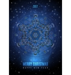 Christmas background with big vintage blue gold vector image