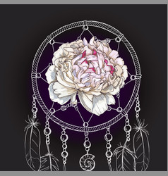 hand drawn ornate dreamcatcher gently pink peony vector image