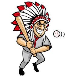 indian chief baseball mascot vector image