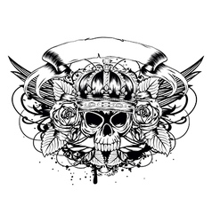 skull corona roses vector image
