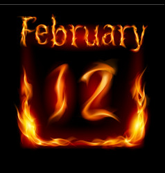 twelfth february in calendar of fire icon on vector image vector image