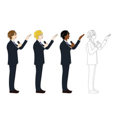 business man with microphone presentation side vector image vector image