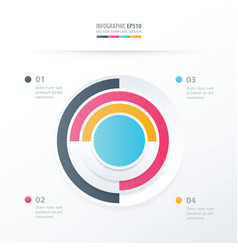 pie chart infographics blue pink yellow blue vector image