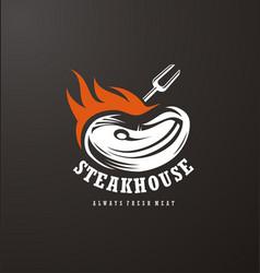 steak house logo design vector image vector image