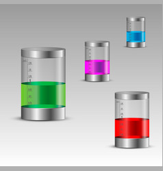 Transparent bottles with colorful liquids vector