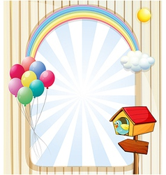 A pethouse near an empty template with balloons vector image vector image