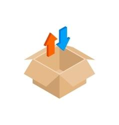 Blank cardboard box and arrows icon vector image vector image