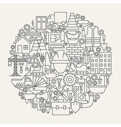 Construction Tools Line Icons Set Circle Shape vector image