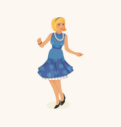 dancing retro woman vector image