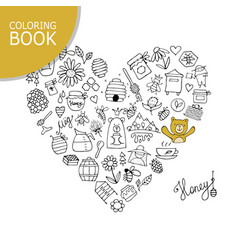 honey apiary icons heart shape sketch for your vector image