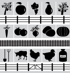 set of farm production icons vector image