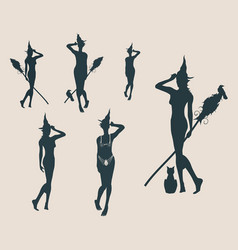 young witch icons set witches silhouettes vector image vector image