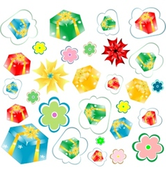 background of gift boxes with different vector image
