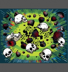 cartoon skulls and stones vector image vector image