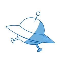 cartoon ufo ship space transport icon vector image vector image