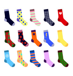 colorful socks set with picture flat design vector image vector image