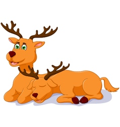 cute two deer cartoon sitting vector image vector image