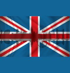 Flag of united kingdom with london skyline vector