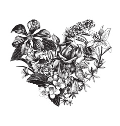 Hand drawn floral heart vector image vector image