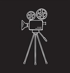 movie camera sketch vector image vector image