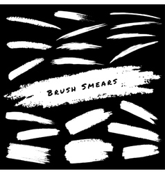Set of White Hand Drawn Grunge Brush Smears vector image