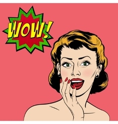 surprised woman in the pop art comics style vector image