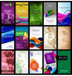 variety of 15 vertical business cards vector image vector image
