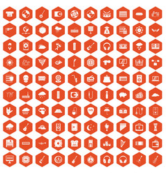 100 music festival icons hexagon orange vector