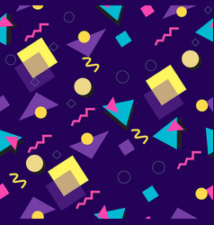 90s and 80s style seamless blue pattern vector image