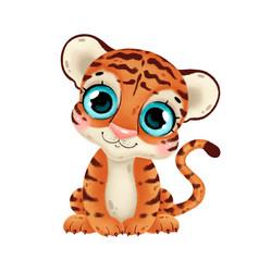 A cute cartoon tiger vector