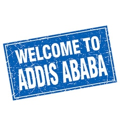 Addis Ababa blue square grunge welcome to stamp vector