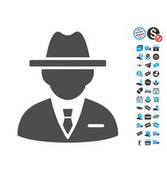 Agent flat icon with free bonus elements vector