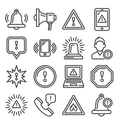 alert warning ntification icons set on white vector image