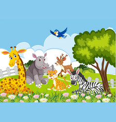 Animals in the jungle vector